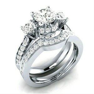 Jewelry - New S925 SP White Sapphire Set! Sizes 6, 7, & 8!